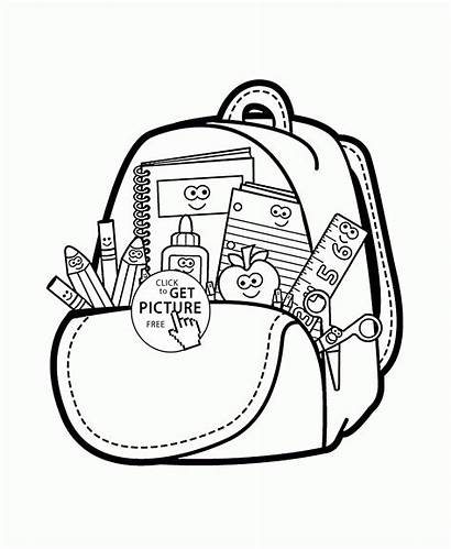 Coloring Supplies Pages Drawing Bag Cartoon Clipart