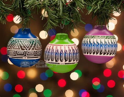native american painted christmas ornaments  set