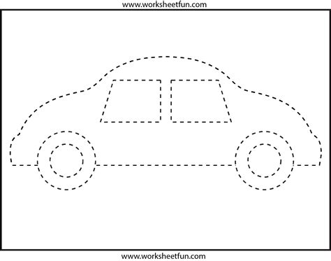 Picture Tracing  Car 1 Worksheet  Free Printable