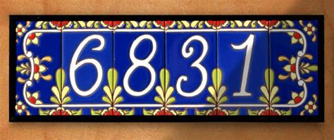 house numbers 3 quot x 6 quot ceramic address tile cobalt talavera