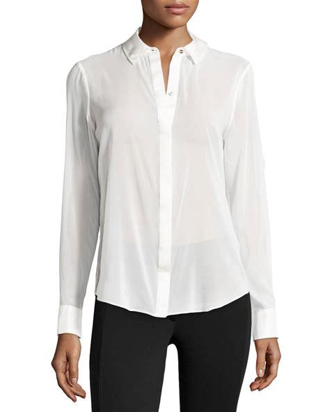 sheer chiffon blouse zoe sheer chiffon blouse w silk trim in white lyst