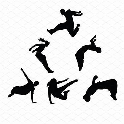 Parkour Silhouettes Vector Silhouette Clipart Drawing Jump