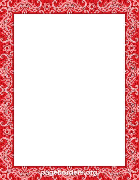 printable red bandana border   border  microsoft