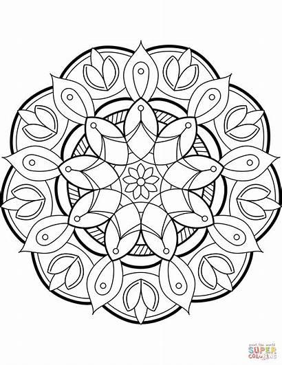 Mandala Coloring Flower Pages Printable Mandalas Supercoloring
