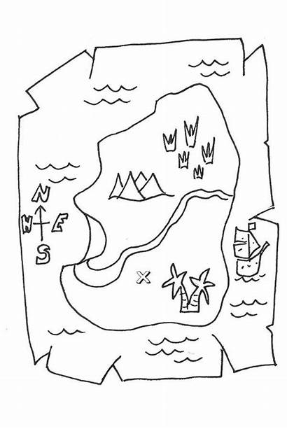 Coloring Treasure Map Pages Maps Pirate Printable