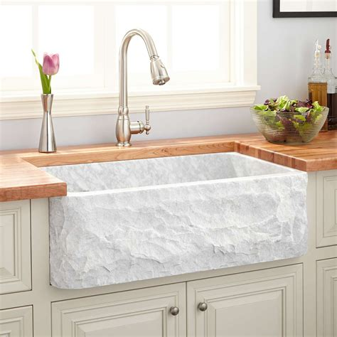marble kitchen sinks 33 quot polished marble farmhouse sink chiseled apron 4017