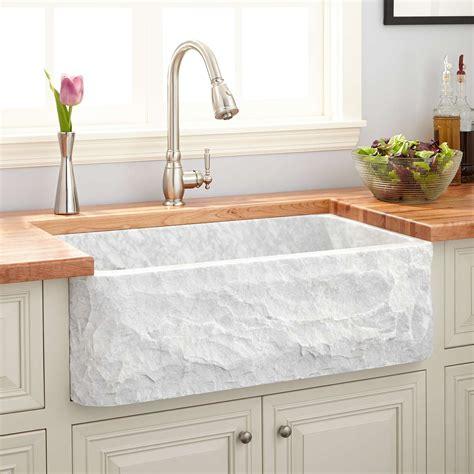 "33"" Polished Marble Farmhouse Sink  Chiseled Apron. Kitchen Brick Wall Tiles. Kitchen Appliances Retro. Cheap Tile For Kitchen Floors. Backsplash Stick On Tiles Kitchen"