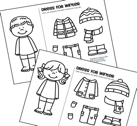 winter clothes dress boy  girl  clothes worksheet