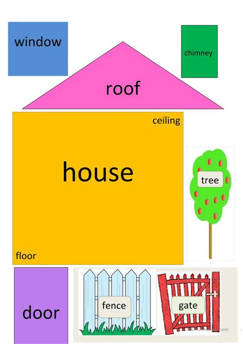 crossword   house  worksheet  esl