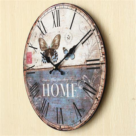 shabby chic kitchen clock vintage rustic shabby chic retro kitchen wall clock roman numerals butterfly ebay