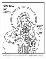 Coloring Catholic Church Lady Roman Mary Royal Kateri John Jesus Mother China Baptist Va Tekakwitha Library Popular sketch template