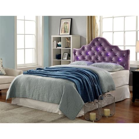 Crown Headboard by Shop Furniture Of America Lina Contemporary Button Tufted