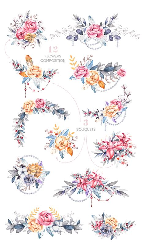 watercolor floral clipart elements  compositions flora