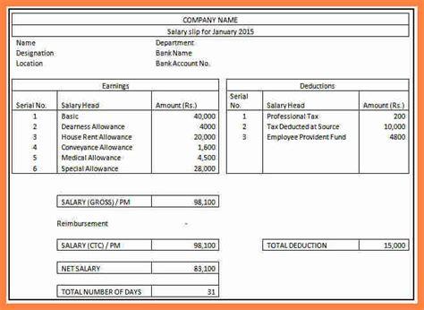 salary structure format  salary slip