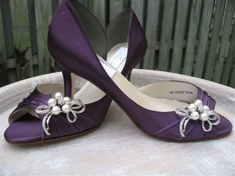 Purple Eggplant Bridal Shoes With Pearl And Crystal Bow Brooch