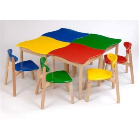 wooden school nursery tables in a variety of colours