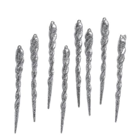 silver glittered icicle ornaments christmas ornaments