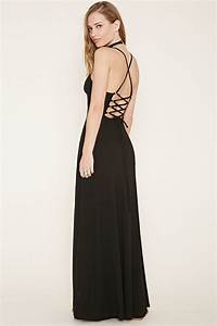 Lyst - Forever 21 Lace-up Back Maxi Dress in Black