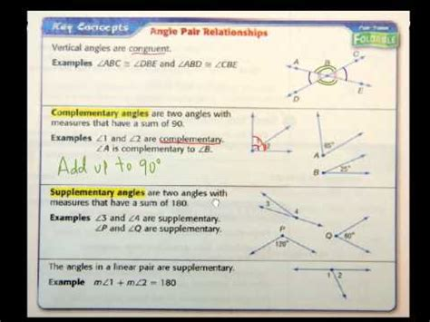 Geometry Sec 1 5 Angle Relationships Youtube