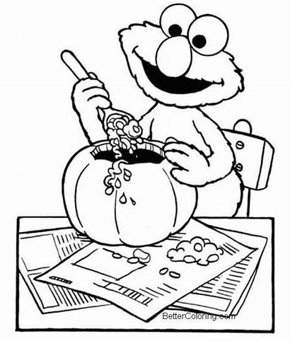 Coloring Elmo Halloween Pages Printable Pumpkin Colouring