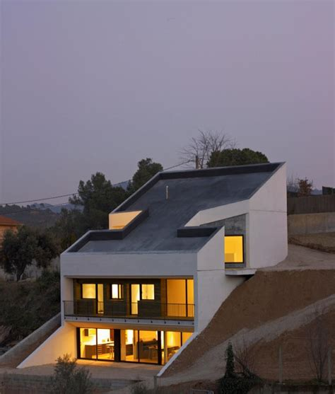 steep slope house plans concrete house embedded in the slope architects house