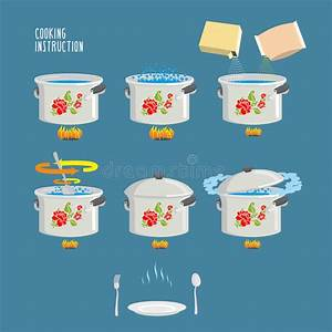 Cooking Instruction Vector Icons Set  Eps 10  Stock Vector