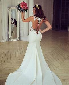 Sheer Back Lace Buttons Wedding Dress 2017 Mermaid ...