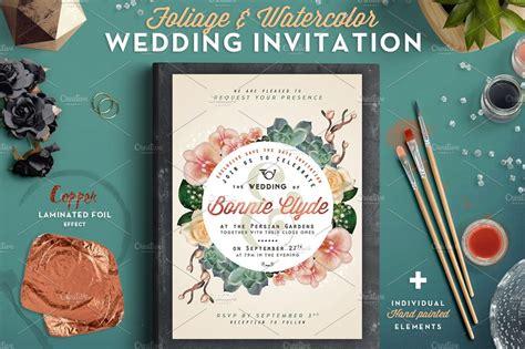Foliage & Watercolor Wedding Invite ~ Invitation Templates