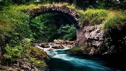 Stream Cool Mountain Background Wallpapers Stone Bridge