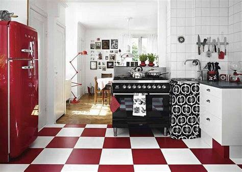 Red White And Black Retro Kitchen=floor For Bakery  Red