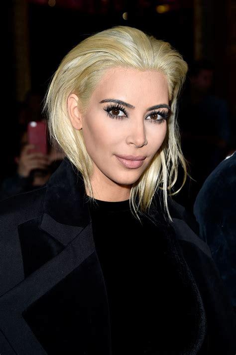 kim kardashian platinum blonde hair balmain fashion show