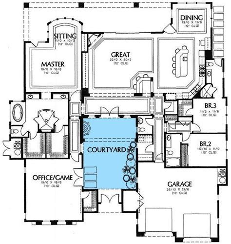 plan md central courtyard florida houses house plans doors