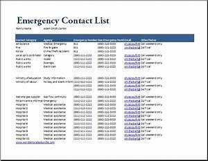 emergency response checklist template - emergency contact list template at wordtemplatesbundlecom
