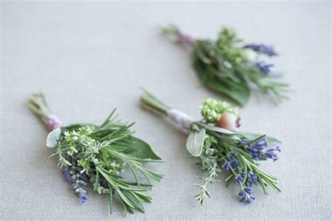 diy herbal wedding boutonnieres once wed
