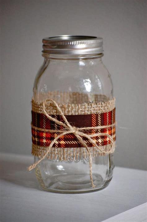 decorating jars with fabric plaid fabric jar fall wedding decor shabby by