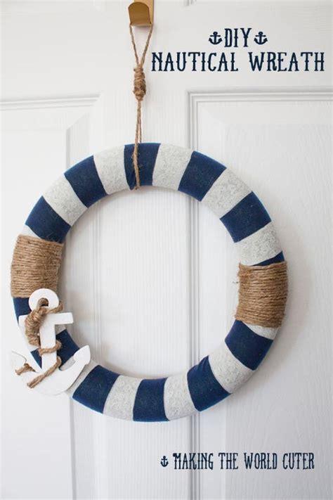 nautical decor     navy  white wreath