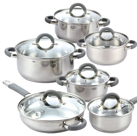 cook  home   piece stainless steel cookware set silver transitional cookware sets