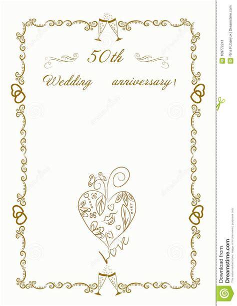 50th Wedding Anniversary Invitation Beautiful Illustration