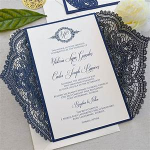 navy chantilly lace laser cut wrap invitation navy laser With wedding invitations wrapped in lace