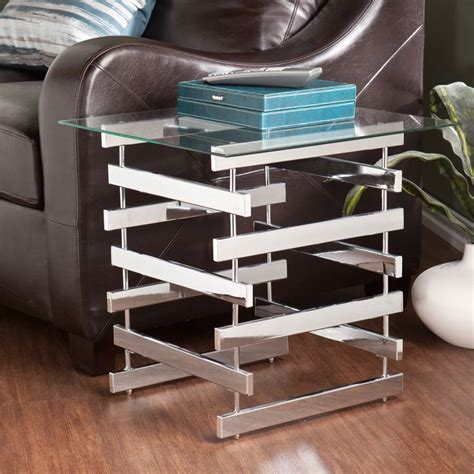 overstock glass end tables upton home hayes chrome glass end table