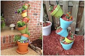 deco jardin diy 35 idees pour integrer les pots en terre With déco chambre bébé pas cher avec pot fleur design interieur
