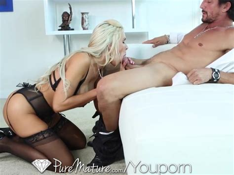 Puremature Sexy Blonde Milf In Black Lingerie Get
