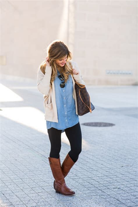 oversized chambray  leggings  brown riding boots
