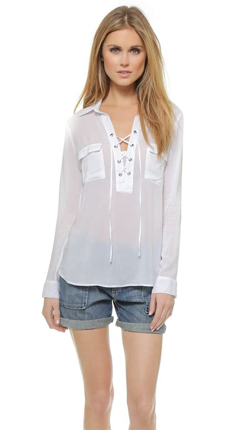 up blouse white lace up blouse fashion ql