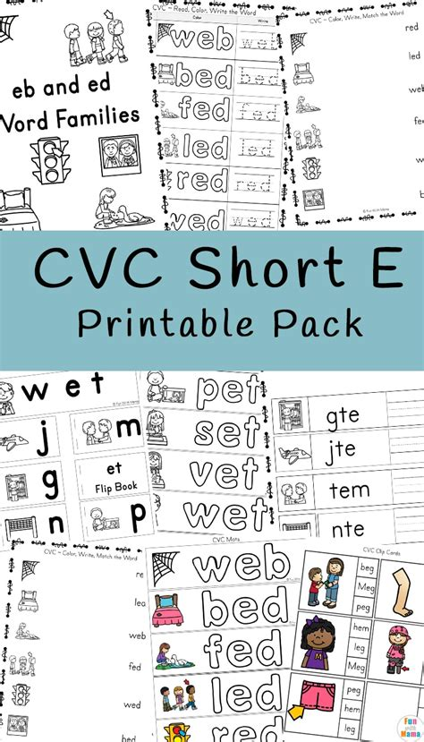 cvc short e words worksheets fun with