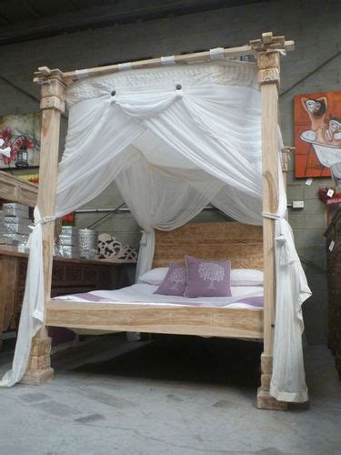balinese hand carved recycled teak  poster bed queen