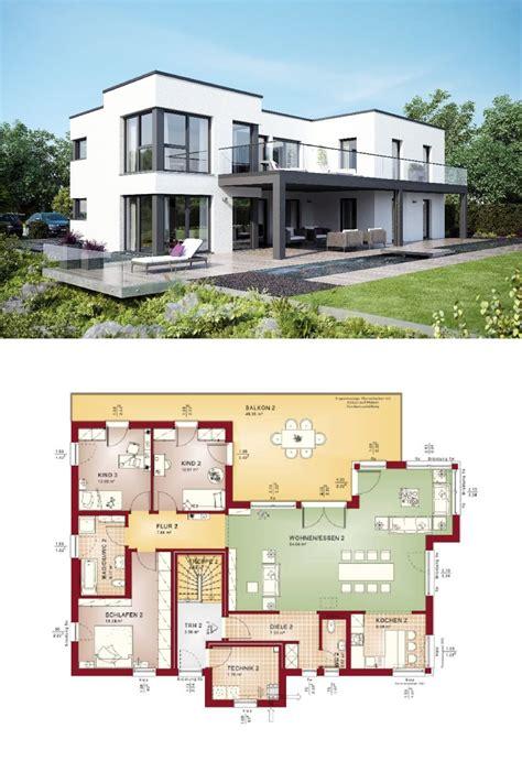 haus mit 2 wohnungen bauen mehrfamilienhaus evolution 282 v7 grundriss flachdach