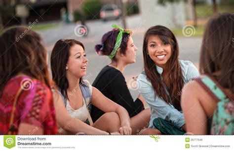 diverse group  teenage girls talking royalty  stock