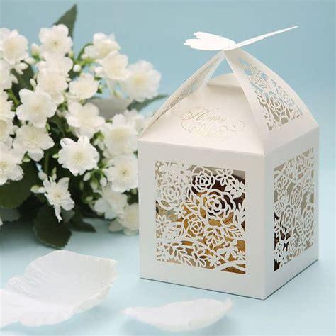 pcs white lace butterfly wedding favor boxes white