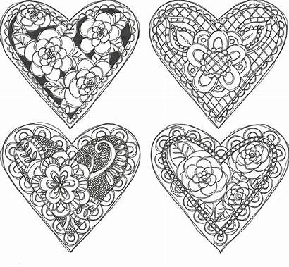 Doodle Valentines Coloring Pages Valentine Printable Patterns